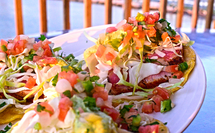 A plate of seafood tacos from Doc's Seafood & Steaks